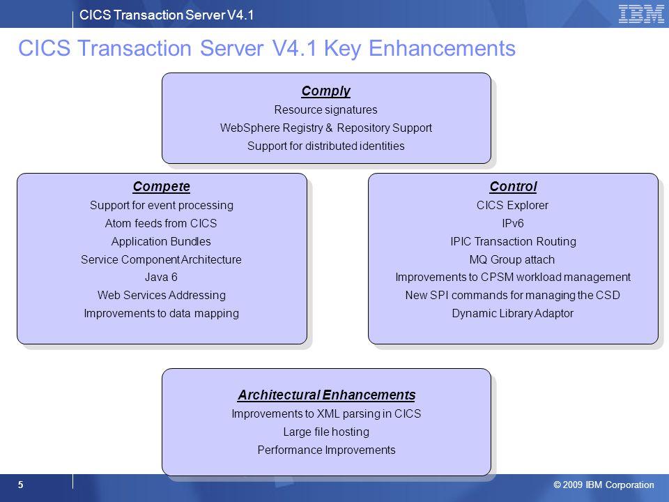 CICS Transaction Server V4.1 © 2009 IBM Corporation 5 CICS Transaction Server V4.1 Key Enhancements Architectural Enhancements Improvements to XML par