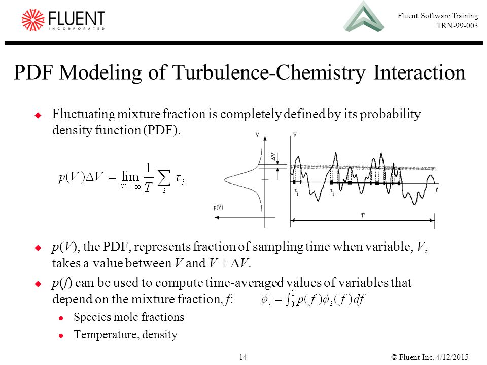 © Fluent Inc. 4/12/201514 Fluent Software Training TRN-99-003 PDF Modeling of Turbulence-Chemistry Interaction  Fluctuating mixture fraction is compl