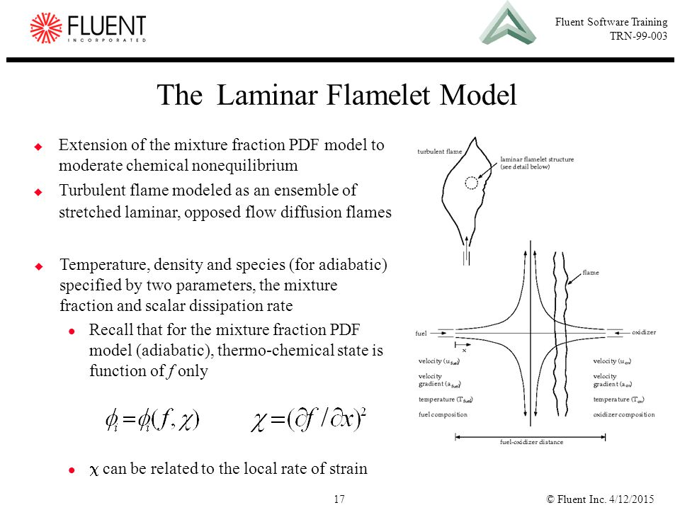© Fluent Inc. 4/12/201517 Fluent Software Training TRN-99-003 The Laminar Flamelet Model  Temperature, density and species (for adiabatic) specified