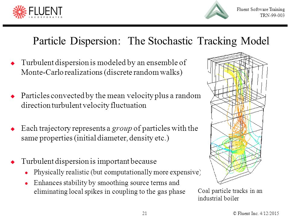 © Fluent Inc. 4/12/201521 Fluent Software Training TRN-99-003  Turbulent dispersion is modeled by an ensemble of Monte-Carlo realizations (discrete r