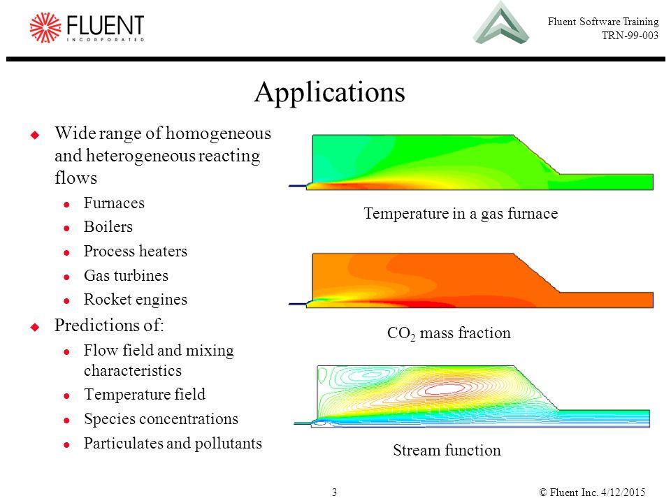 © Fluent Inc. 4/12/20153 Fluent Software Training TRN-99-003 Applications  Wide range of homogeneous and heterogeneous reacting flows Furnaces Boiler