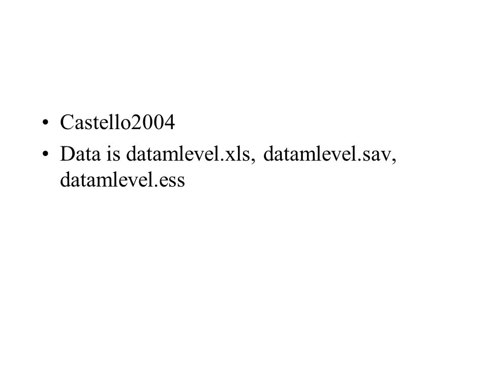 Castello2004 Data is datamlevel.xls, datamlevel.sav, datamlevel.ess