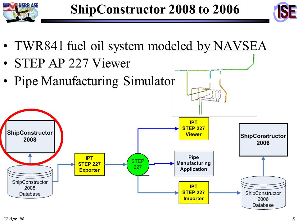 27 Apr '06 5 ShipConstructor 2008 to 2006 TWR841 fuel oil system modeled by NAVSEA STEP AP 227 Viewer Pipe Manufacturing Simulator