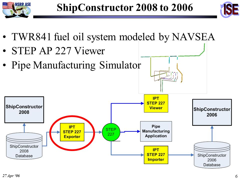 27 Apr '06 6 ShipConstructor 2008 to 2006 TWR841 fuel oil system modeled by NAVSEA STEP AP 227 Viewer Pipe Manufacturing Simulator