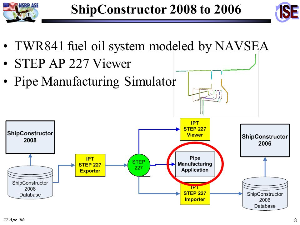 27 Apr '06 8 ShipConstructor 2008 to 2006 TWR841 fuel oil system modeled by NAVSEA STEP AP 227 Viewer Pipe Manufacturing Simulator
