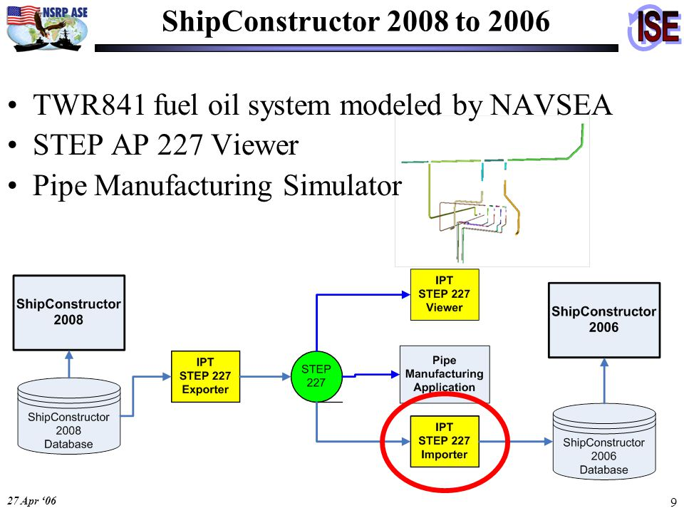 27 Apr '06 9 ShipConstructor 2008 to 2006 TWR841 fuel oil system modeled by NAVSEA STEP AP 227 Viewer Pipe Manufacturing Simulator