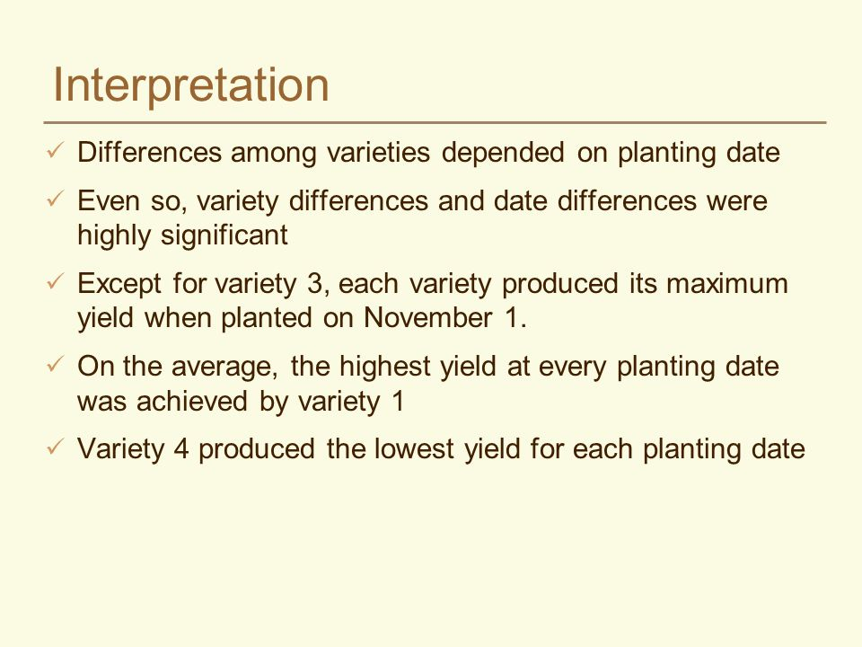 Interpretation Differences among varieties depended on planting date Even so, variety differences and date differences were highly significant Except for variety 3, each variety produced its maximum yield when planted on November 1.