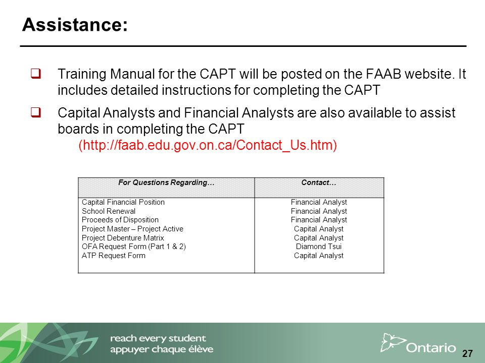 Assistance:  Training Manual for the CAPT will be posted on the FAAB website.