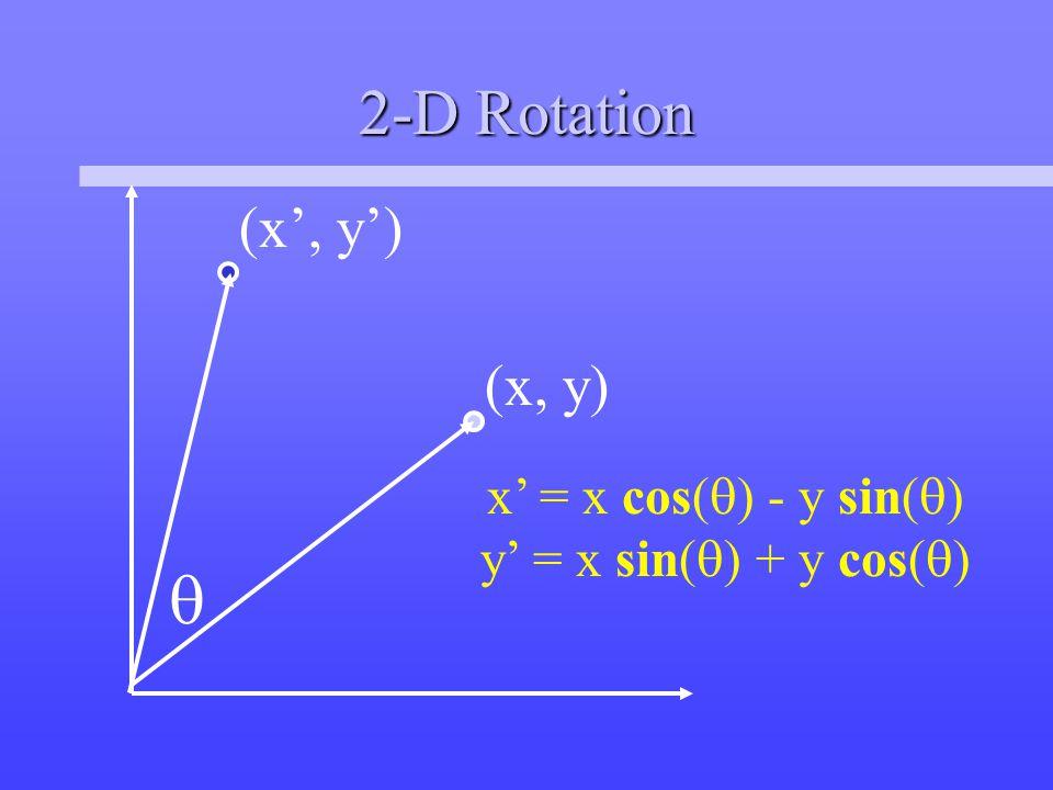 2-D Rotation  (x, y) (x', y') x' = x cos(  ) - y sin(  ) y' = x sin(  ) + y cos(  )