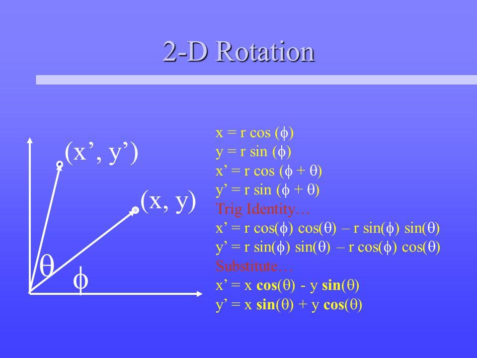 2-D Rotation  (x, y) (x', y') x = r cos (  ) y = r sin (  ) x' = r cos (  +  ) y' = r sin (  +  ) Trig Identity… x' = r cos(  ) cos(  ) – r sin(  ) sin(  ) y' = r sin(  ) sin(  ) – r cos(  ) cos(  ) Substitute… x' = x cos(  ) - y sin(  ) y' = x sin(  ) + y cos(  ) 