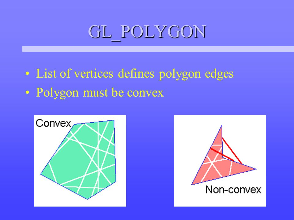 Non-planar Polygons Imagine polygon with non-planar vertices Some perspectives will be rendered as concave polygons These concave polygons may not rasterize correctly