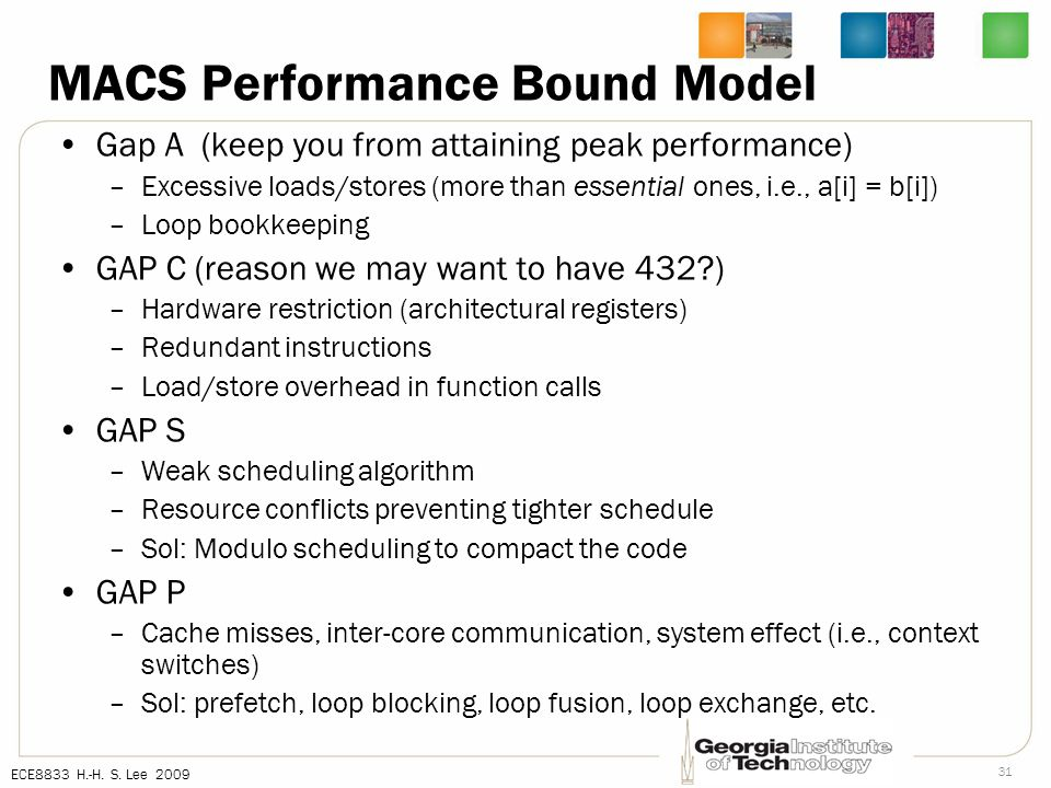 ECE8833 H.-H. S. Lee 2009 31 MACS Performance Bound Model Gap A (keep you from attaining peak performance) –Excessive loads/stores (more than essentia