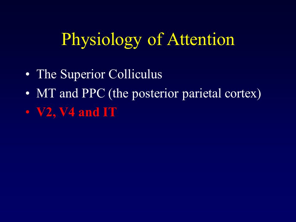 Physiology of Attention The Superior Colliculus MT and PPC (the posterior parietal cortex) V2, V4 and IT
