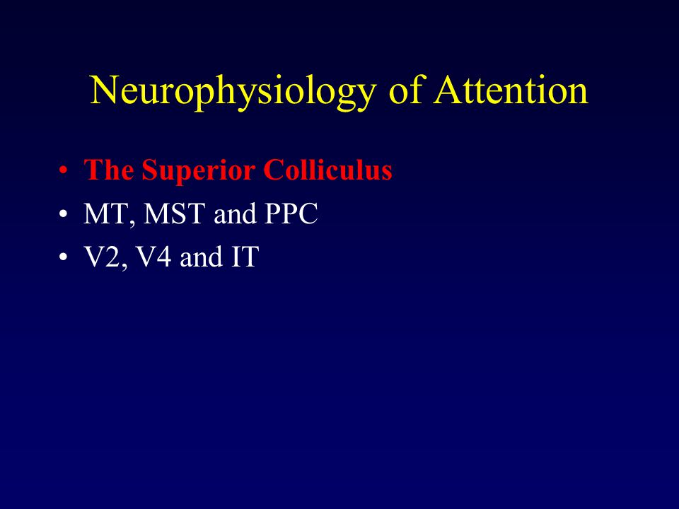 Neurophysiology of Attention The Superior Colliculus MT, MST and PPC V2, V4 and IT