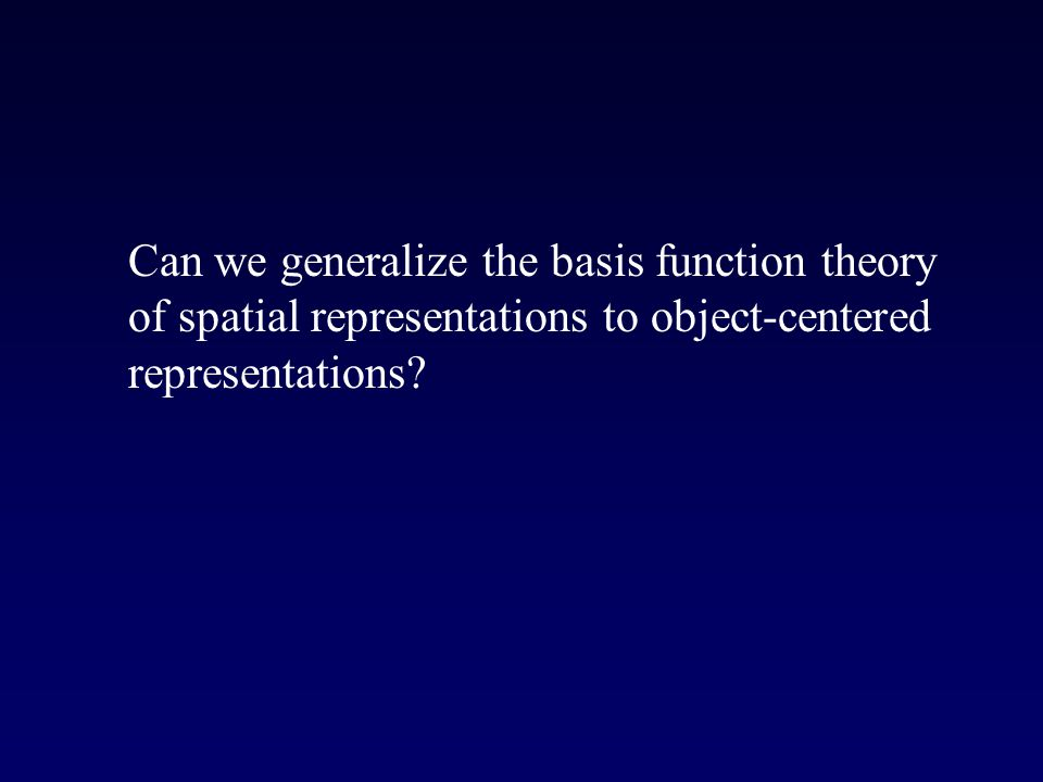 Can we generalize the basis function theory of spatial representations to object-centered representations?