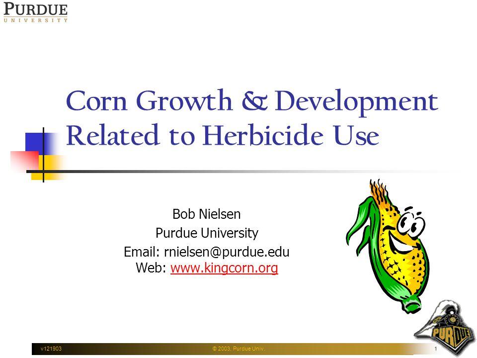 v121903© 2003, Purdue Univ.1 Corn Growth & Development Related to Herbicide Use Bob Nielsen Purdue University Email: rnielsen@purdue.edu Web: www.kingcorn.orgwww.kingcorn.org