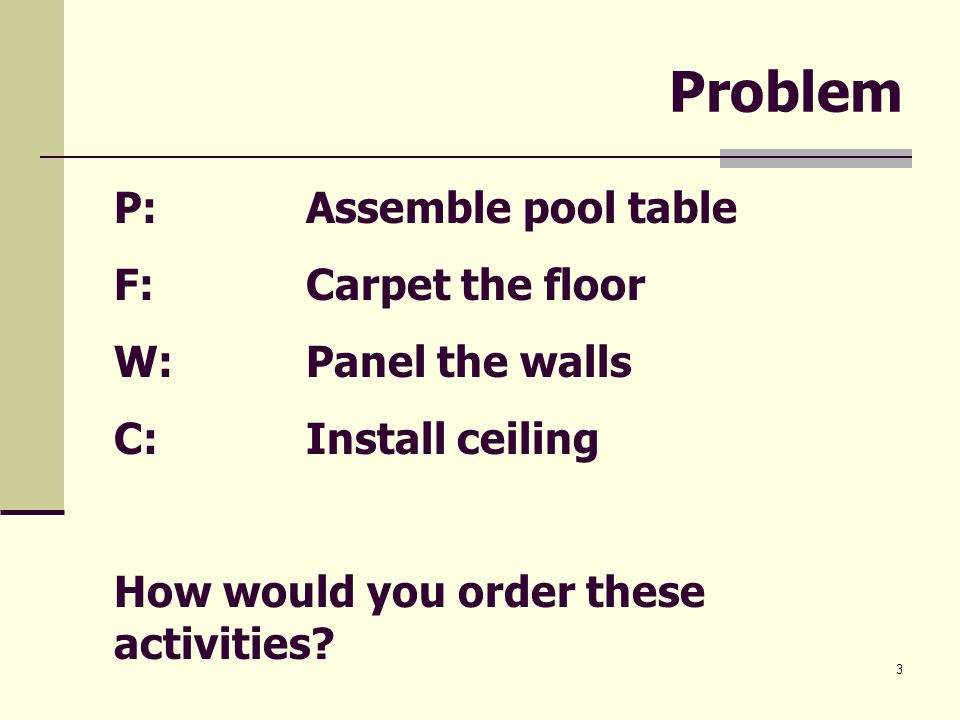 3 Problem P: Assemble pool table F: Carpet the floor W: Panel the walls C: Install ceiling How would you order these activities?