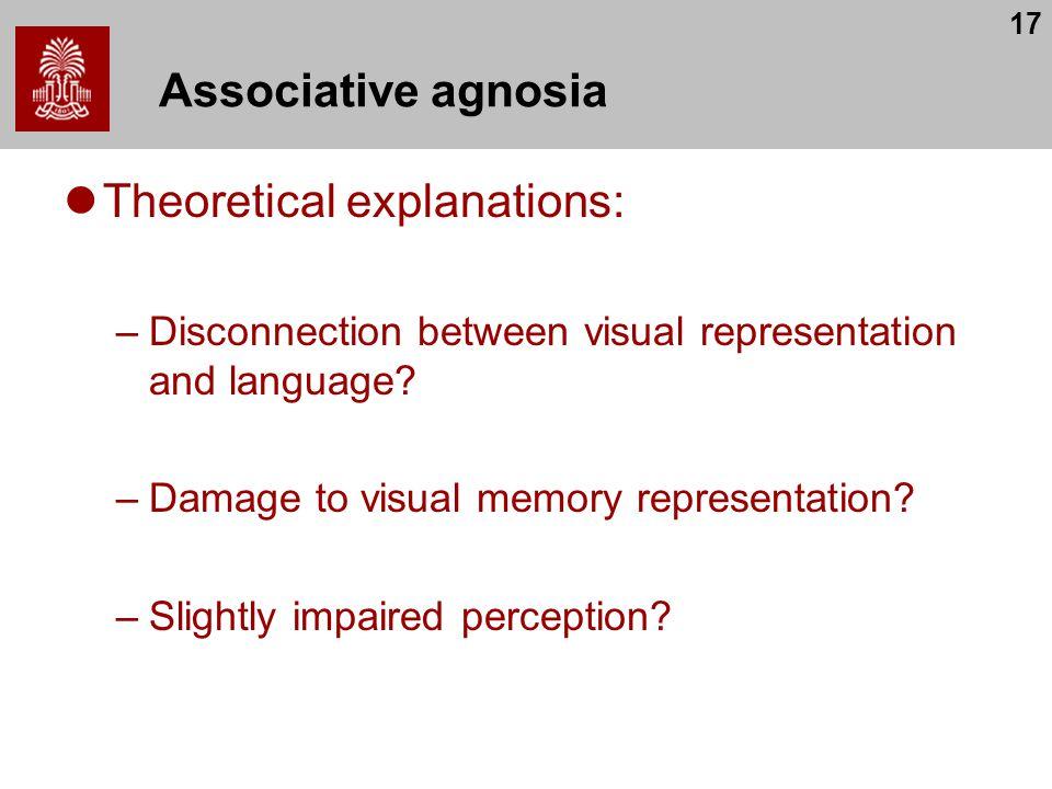 17 Associative agnosia Theoretical explanations: –Disconnection between visual representation and language? –Damage to visual memory representation? –