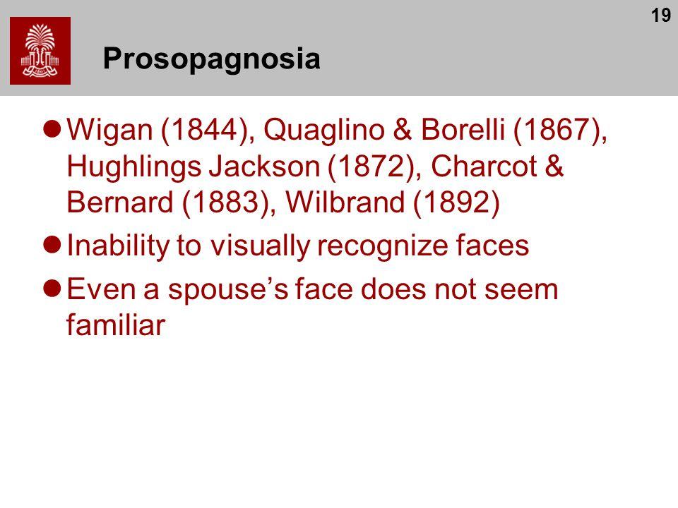 19 Prosopagnosia Wigan (1844), Quaglino & Borelli (1867), Hughlings Jackson (1872), Charcot & Bernard (1883), Wilbrand (1892) Inability to visually re