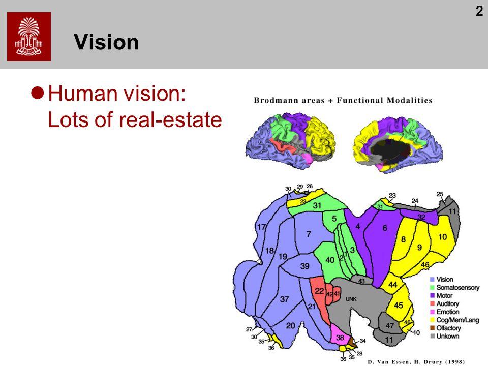 2 Vision Human vision: Lots of real-estate