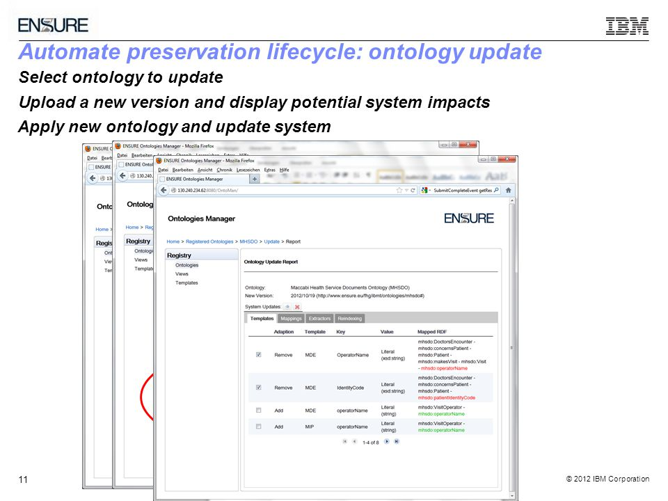 © 2012 IBM Corporation 11 Automate preservation lifecycle: ontology update Select ontology to update Upload a new version and display potential system impacts Apply new ontology and update system