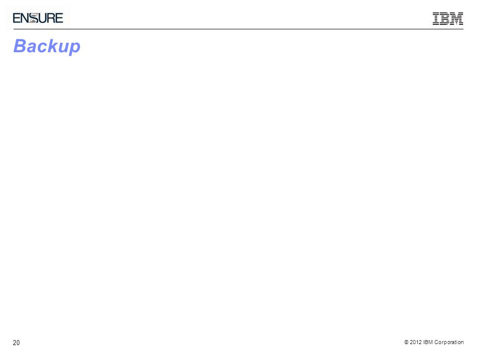 © 2012 IBM Corporation 20 Backup