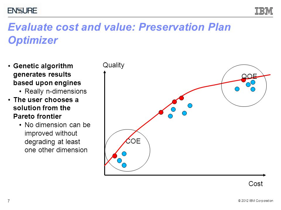 © 2012 IBM Corporation 7 Evaluate cost and value: Preservation Plan Optimizer COE QOE Genetic algorithm generates results based upon engines Really n-dimensions The user chooses a solution from the Pareto frontier No dimension can be improved without degrading at least one other dimension Quality Cost