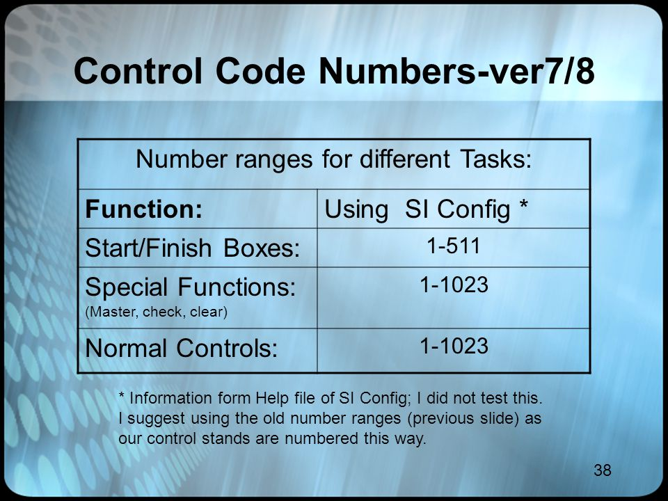 38 Control Code Numbers-ver7/8 Number ranges for different Tasks: Function:Using SI Config * Start/Finish Boxes: 1-511 Special Functions: (Master, che