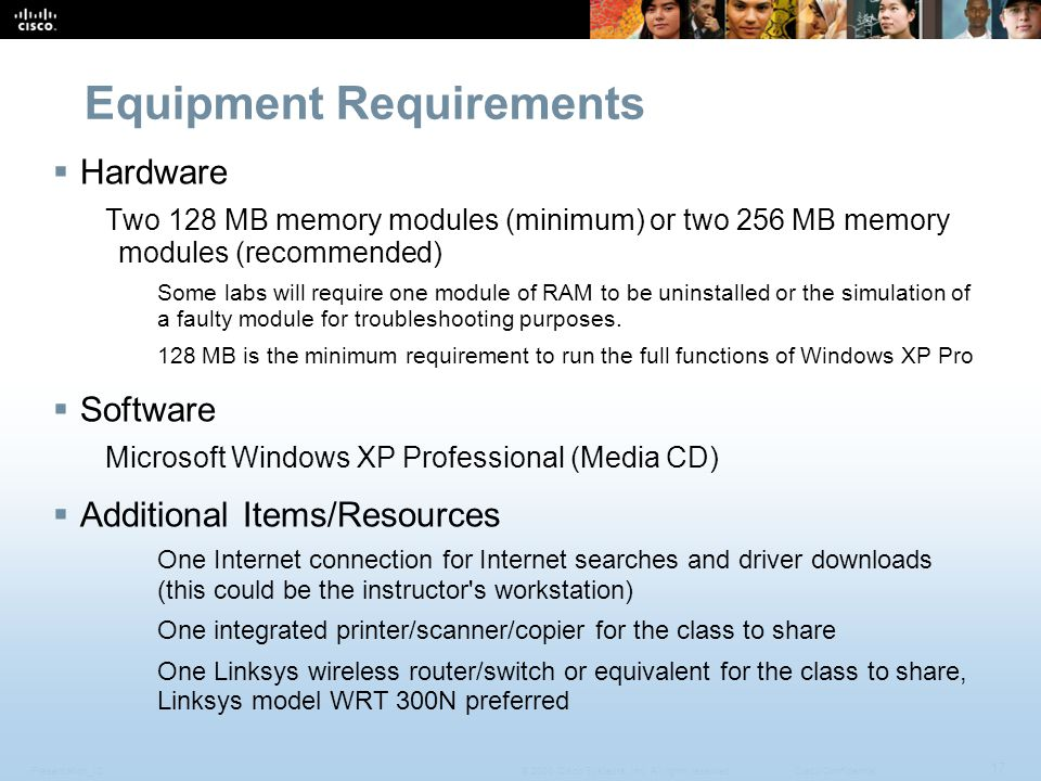 Presentation_ID 17 © 2008 Cisco Systems, Inc. All rights reserved.Cisco Confidential Equipment Requirements  Hardware Two 128 MB memory modules (mini