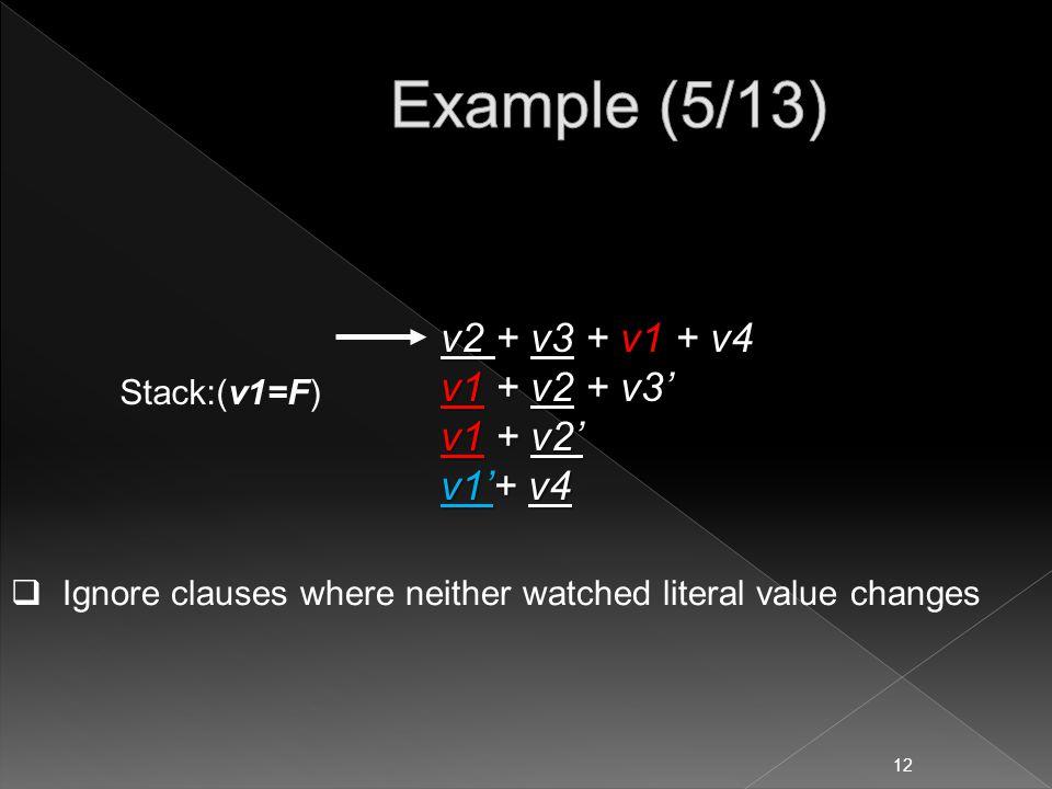 v2 + v3 + v1 + v4 v1 + v2 + v3' v1 + v2' v1'+ v4  Ignore clauses where neither watched literal value changes Stack:(v1=F) 12