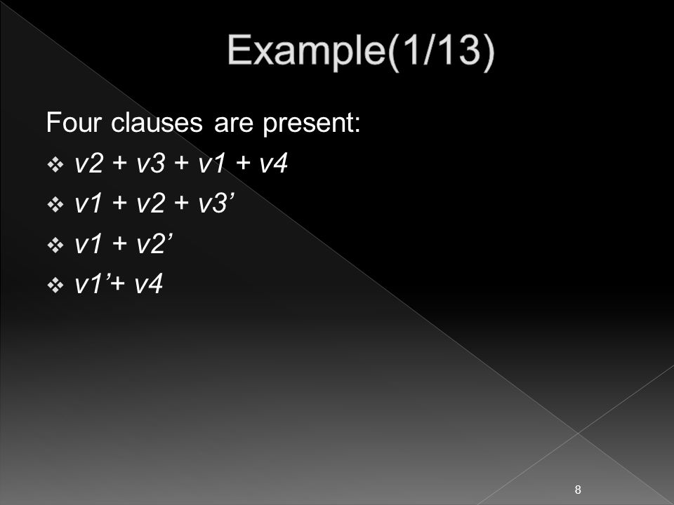 Four clauses are present:  v2 + v3 + v1 + v4  v1 + v2 + v3'  v1 + v2'  v1'+ v4 8