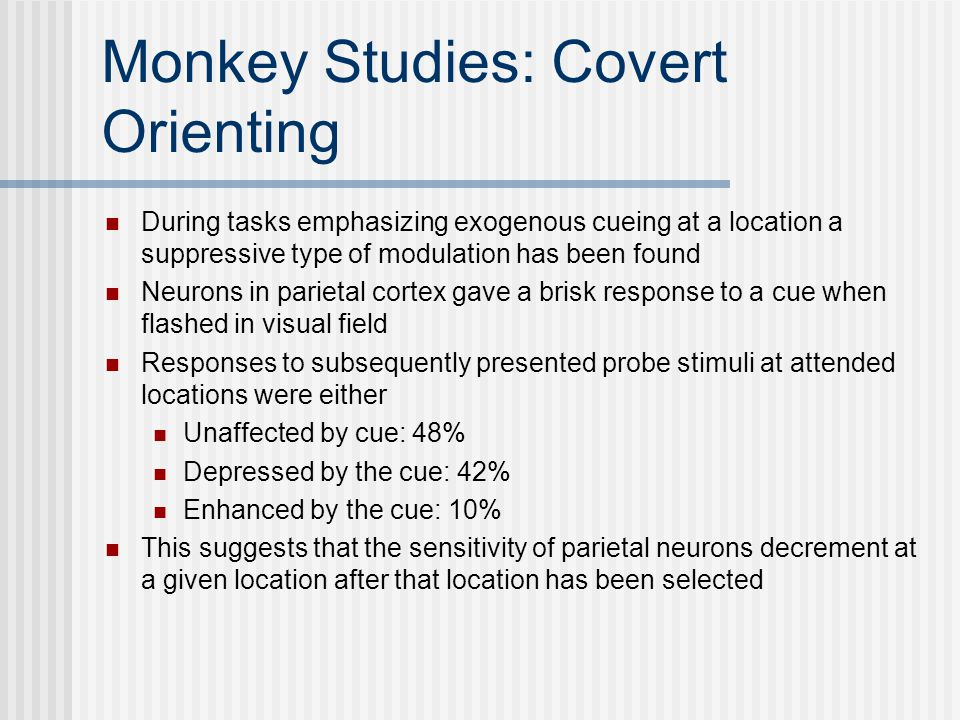 Monkey Studies: Covert Orienting During tasks emphasizing exogenous cueing at a location a suppressive type of modulation has been found Neurons in parietal cortex gave a brisk response to a cue when flashed in visual field Responses to subsequently presented probe stimuli at attended locations were either Unaffected by cue: 48% Depressed by the cue: 42% Enhanced by the cue: 10% This suggests that the sensitivity of parietal neurons decrement at a given location after that location has been selected