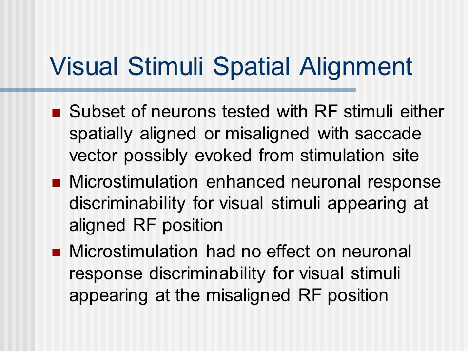 Visual Stimuli Spatial Alignment Subset of neurons tested with RF stimuli either spatially aligned or misaligned with saccade vector possibly evoked from stimulation site Microstimulation enhanced neuronal response discriminability for visual stimuli appearing at aligned RF position Microstimulation had no effect on neuronal response discriminability for visual stimuli appearing at the misaligned RF position
