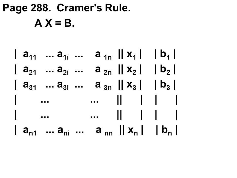 Page 288.Cramer s Rule. A X = B. | a 11... a 1i...
