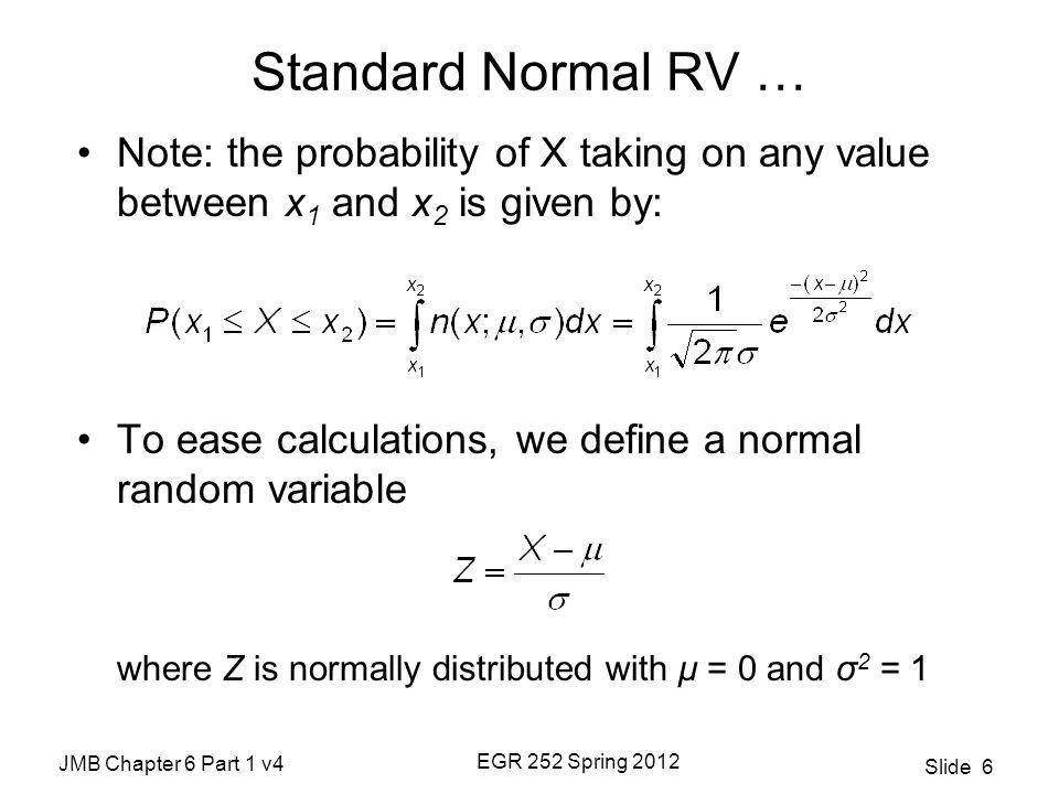 JMB Chapter 6 Part 1 v4 EGR 252 Spring 2012 Slide 7 Standard Normal Distribution Table A.3 Pages 735-736: Areas under the Normal Curve
