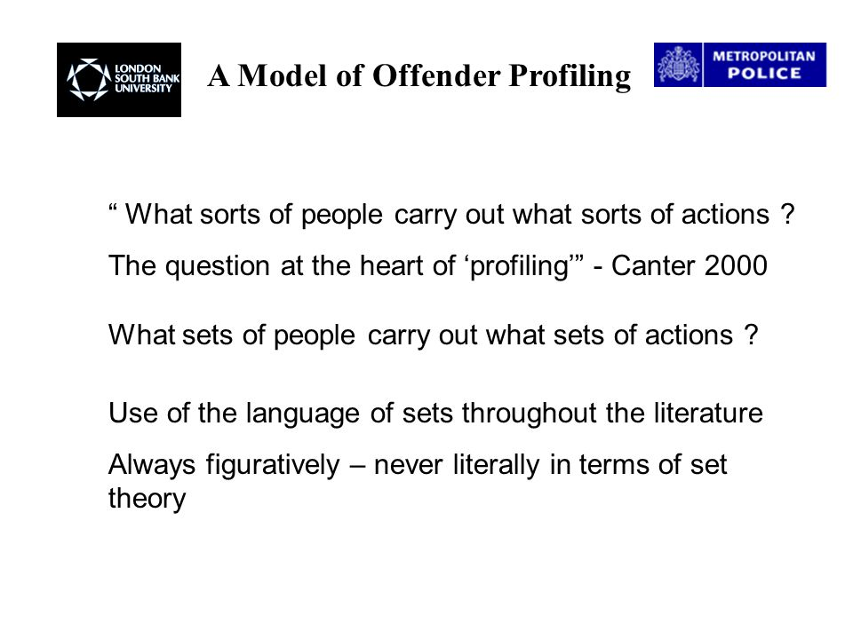 A Model of Offender Profiling Fuzzy logic/set theory is a rigorous mathematical discipline that deals with imprecise, 'fuzzy' concepts It is not itself an any way imprecise or fuzzy A method of approximate reasoning about imprecise propositions Applications throughout industry/research : Electrical / household goods, engineering control systems, medical diagnostics, economics/ decision support systems Possibility for a mutually enriching relationship with psychology Membership functions often depend on judgement/perception Appears suitable to a system of offender profiling