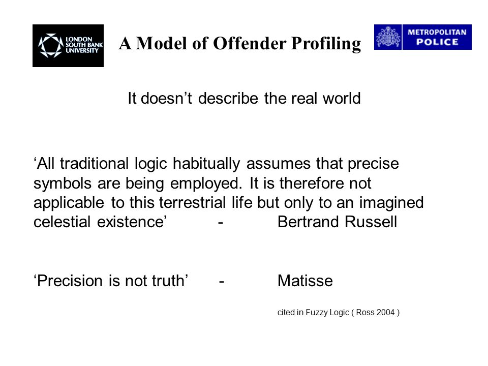A Model of Offender Profiling 'All traditional logic habitually assumes that precise symbols are being employed.