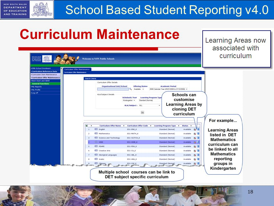School Based Student Reporting v4.0 Curriculum Maintenance 18