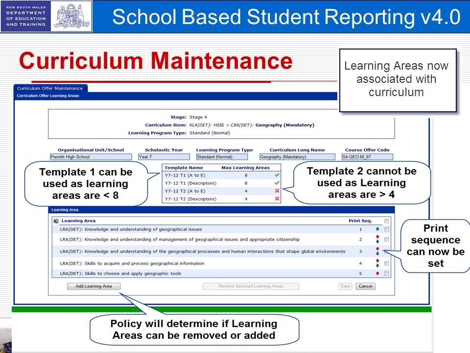 School Based Student Reporting v4.0 Curriculum Maintenance 19