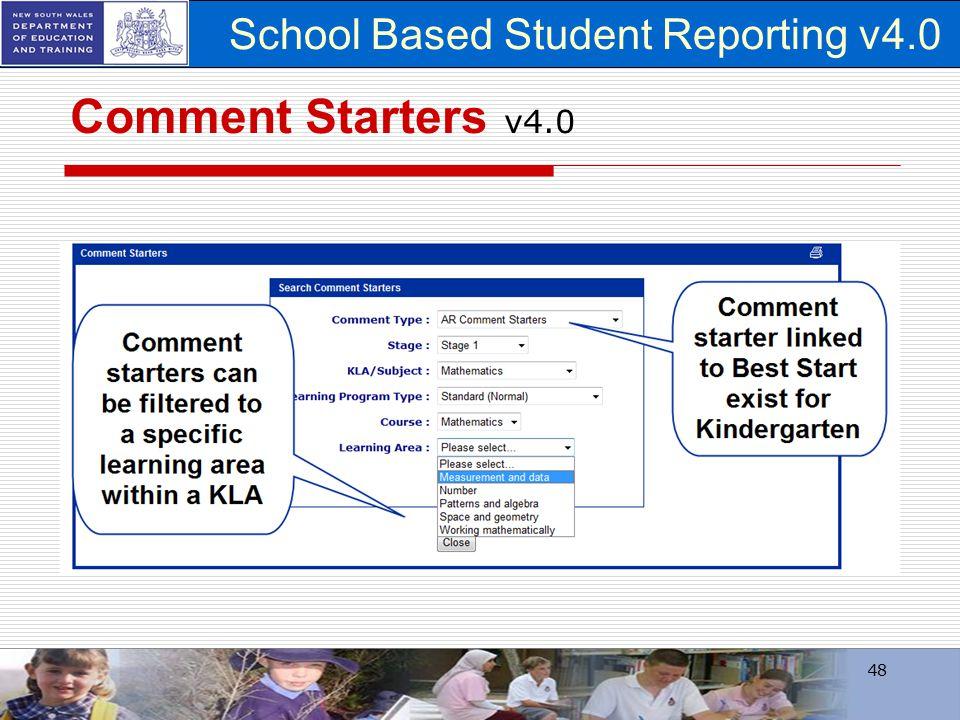 School Based Student Reporting v4.0 Comment Starters v4.0 48