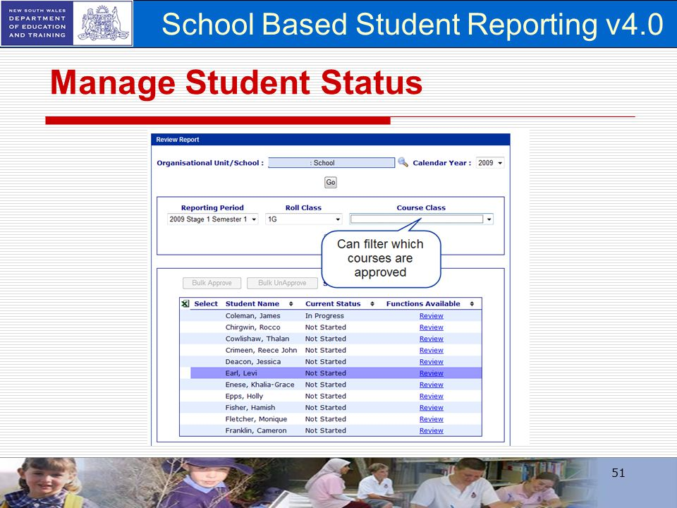 School Based Student Reporting v4.0 Manage Student Status 51