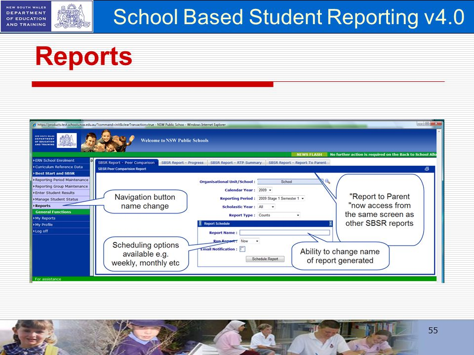 School Based Student Reporting v4.0 Reports 55