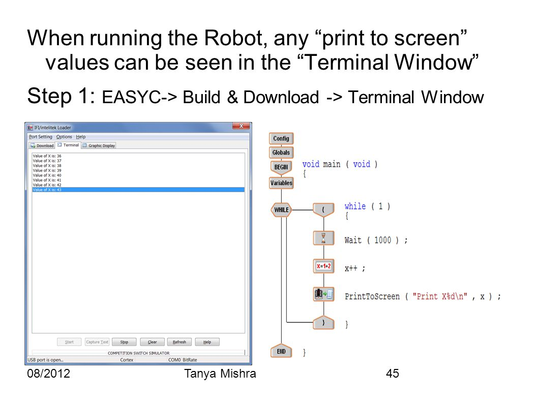 "08/2012Tanya Mishra45 When running the Robot, any ""print to screen"" values can be seen in the ""Terminal Window"" Step 1: EASYC-> Build & Download -> Te"