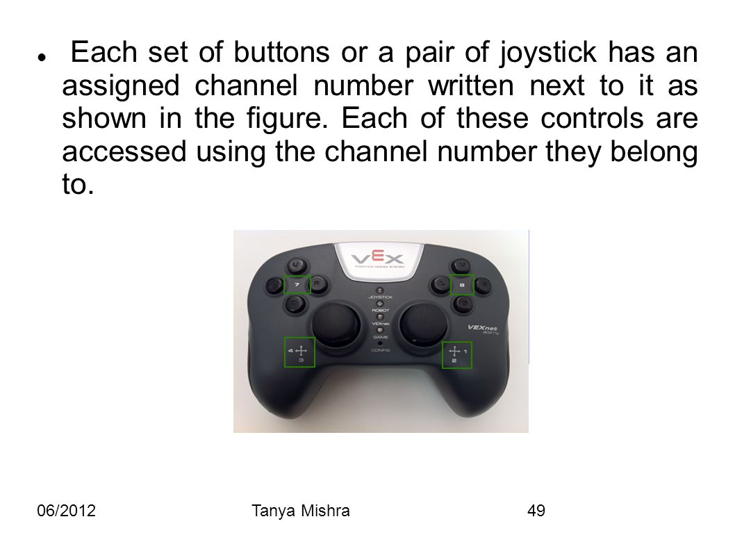 06/2012Tanya Mishra49 Each set of buttons or a pair of joystick has an assigned channel number written next to it as shown in the figure. Each of thes