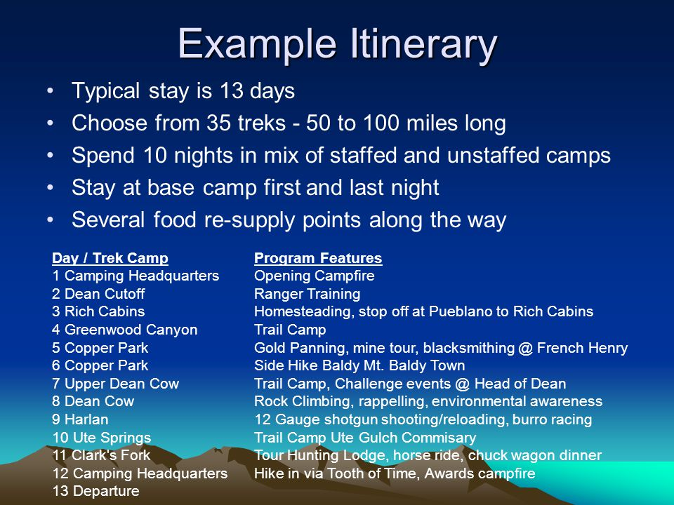 Example Itinerary Day / Trek Camp Program Features 1 Camping Headquarters Opening Campfire 2 Dean Cutoff Ranger Training 3 Rich Cabins Homesteading, s