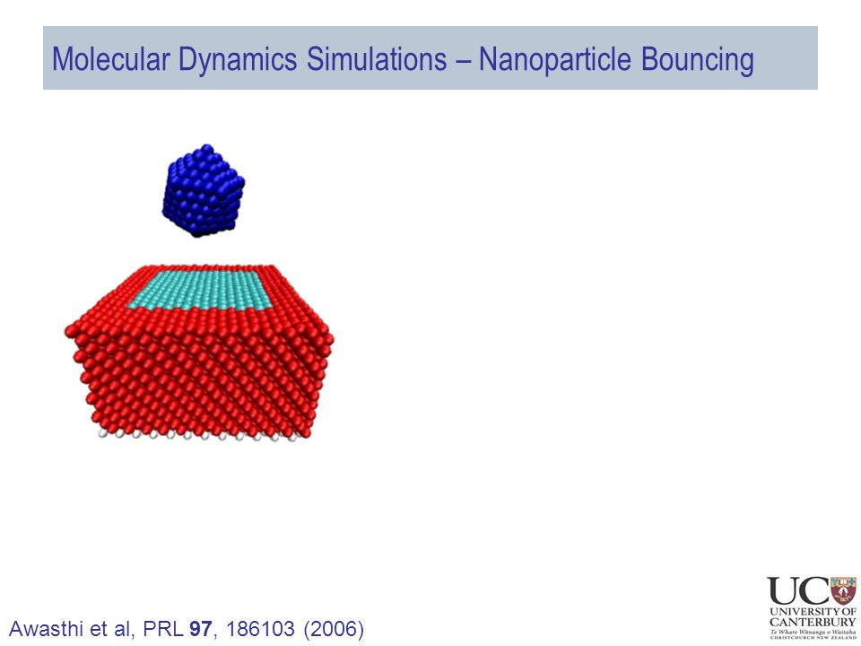 Molecular Dynamics Simulations – Nanoparticle Bouncing Awasthi et al, PRL 97, 186103 (2006)