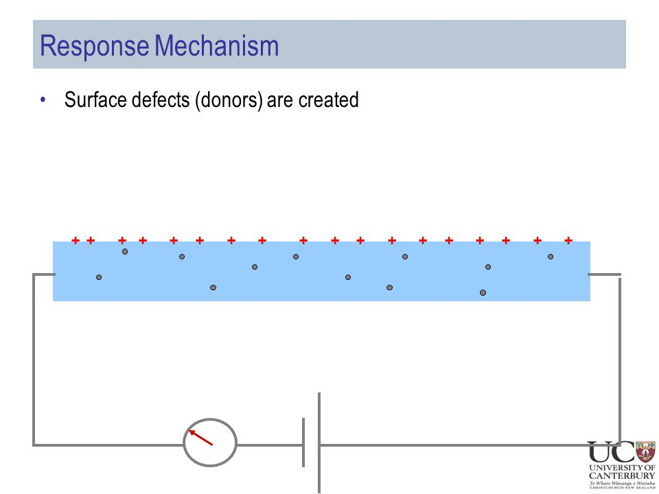 Response Mechanism Surface defects (donors) are created ++++++++++++++++++