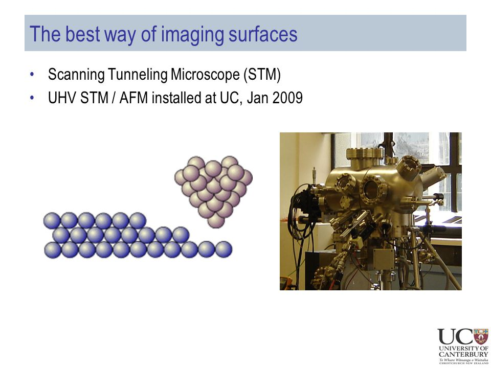 The best way of imaging surfaces Scanning Tunneling Microscope (STM) UHV STM / AFM installed at UC, Jan 2009