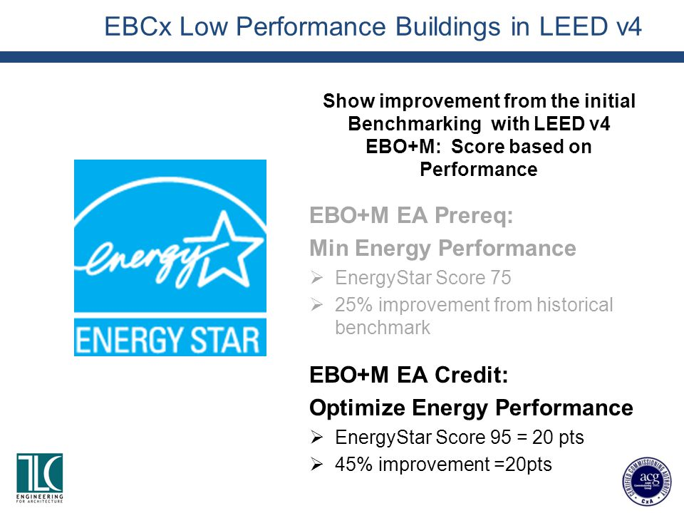 EBCx Low Performance Buildings in LEED v4 Show improvement from the initial Benchmarking with LEED v4 EBO+M: Score based on Performance EBO+M EA Prereq: Min Energy Performance  EnergyStar Score 75  25% improvement from historical benchmark EBO+M EA Credit: Optimize Energy Performance  EnergyStar Score 95 = 20 pts  45% improvement =20pts