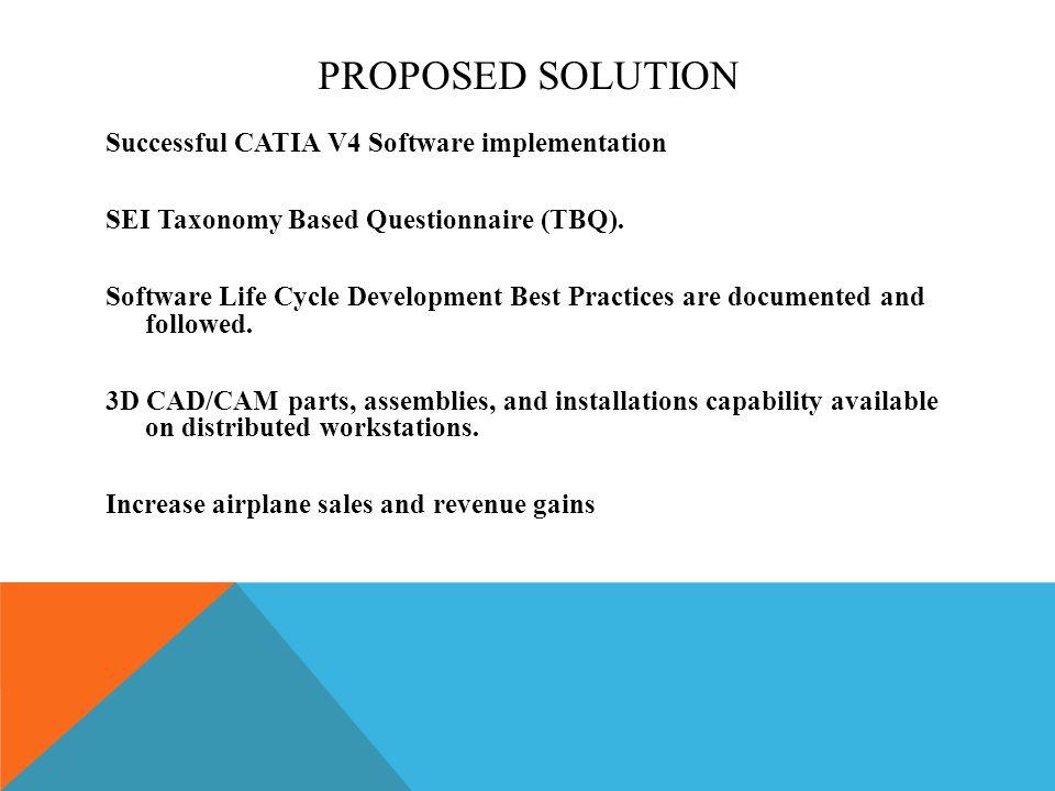 PROPOSED SOLUTION Successful CATIA V4 Software implementation SEI Taxonomy Based Questionnaire (TBQ). Software Life Cycle Development Best Practices a